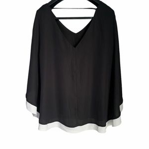 Butterfly sleeve blouse black white trim